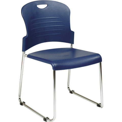 Work Smart Sled Base Stackable Chairs with Plastic Seat, Navy (Set of 2)