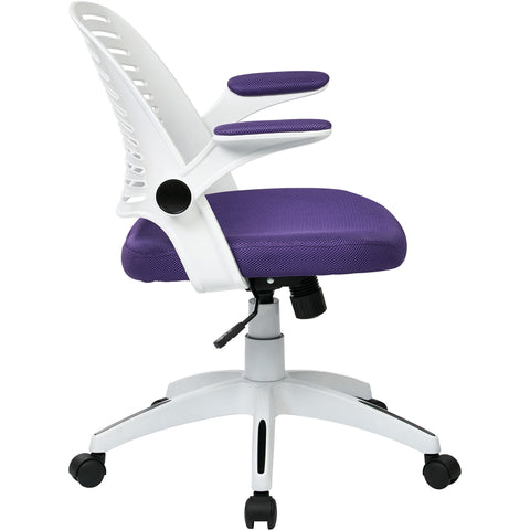 Tyler Office Chair with White Frame, Purple Mesh
