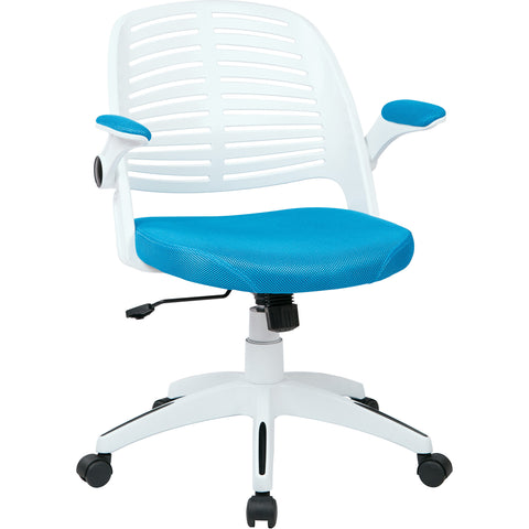 Tyler Office Chair with White Frame, Blue Mesh