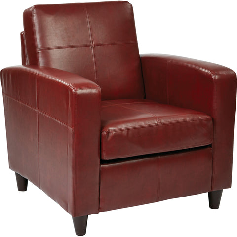 OSP Metro Pleated Back Parsons Chair with Espresso Legs, Crimson Red Leather