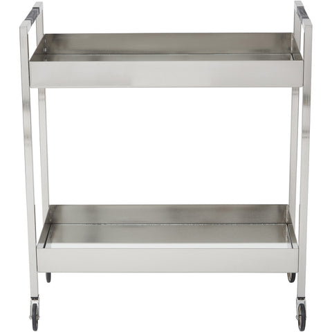 OSP Wilshire Stainless Serving Cart, Brushed Nickel