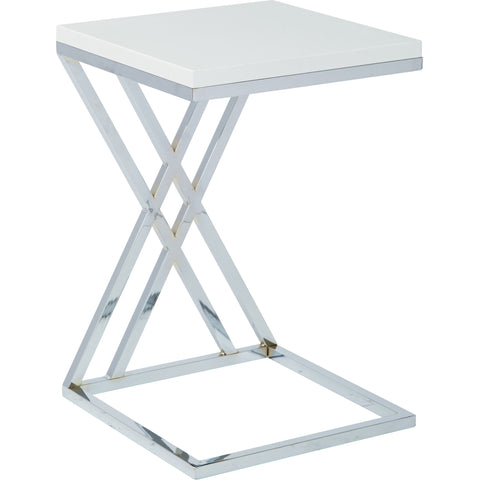 Wall Street Multi-Purpose Side Table with Chrome Frame, White Finish