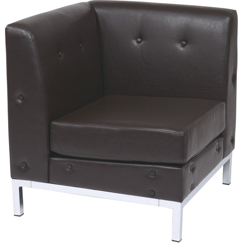 Wall Street Arm Chair RAF, Smoke Faux Leather