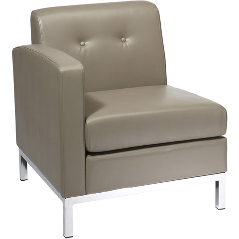 OSP Metro Club Chair with Ottoman, Cream Faux Leather
