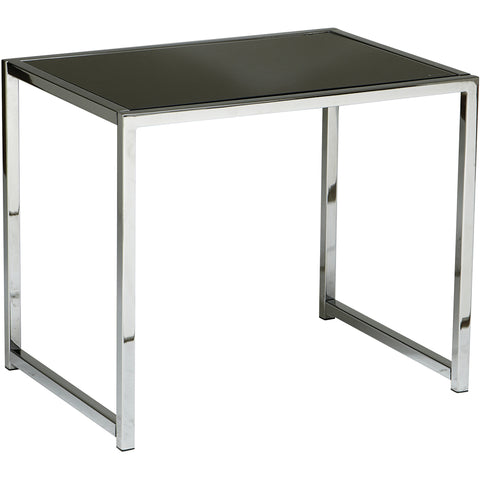 Yield End Table with Chrome Steel Base & Black Glass Top