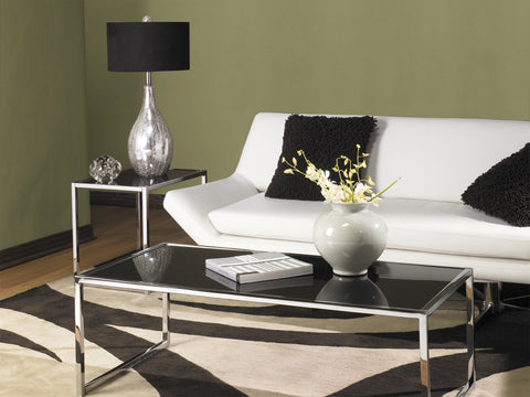 Yield Coffee Table with Chrome Steel Base & Black Glass Top