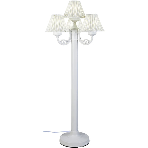 VersaillesOutdoor Floor Lamp with White Body & White Wicker Shades