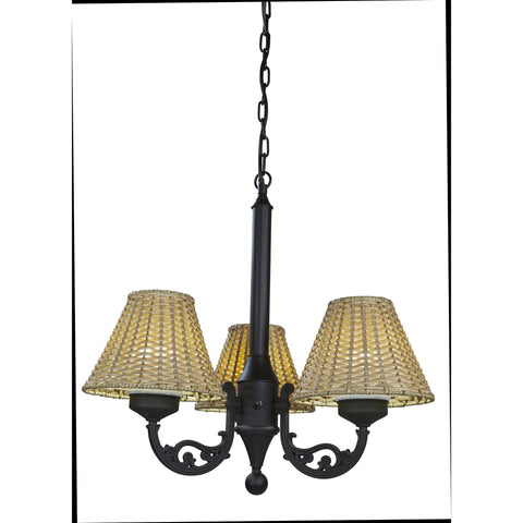 Versailles Outdoor Chandelier with Black Body & Stone Wicker Shades
