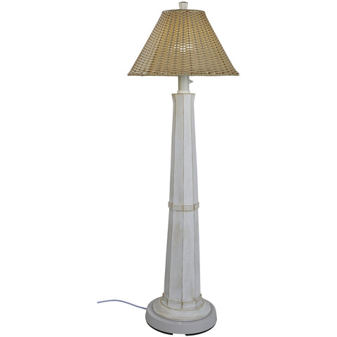 Nantucket Outdoor Floor Lamp with Stone Wicker Shade