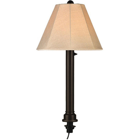 Umbrella Outdoor Table Lamp with Black Tube Body & Antique Beige Linen Sunbrella Shade