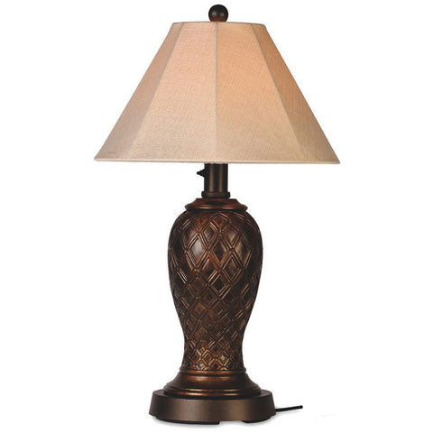 Monterey Outdoor Table Lamp with Antique Beige Linen Sunbrella Shade