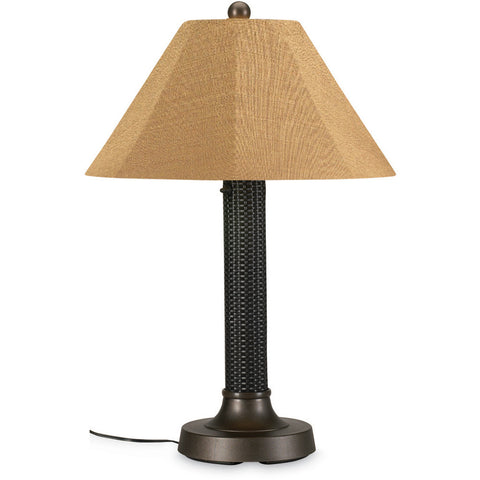 Nantucket Outdoor Floor Lamp with White Wicker Shade