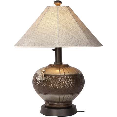 Phoenix Bronze Outdoor Table Lamp with Silver Linen Sunbrella Shade