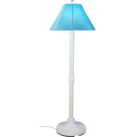 San Juan Outdoor Floor Lamp with White Body & Aruba Canvas Sunbrella Shade
