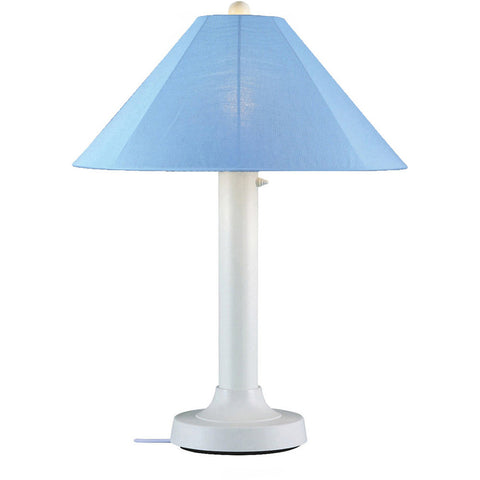 Catalina Outdoor Table Lamp With White Body U0026 Sky Blue Sunbrella Shade