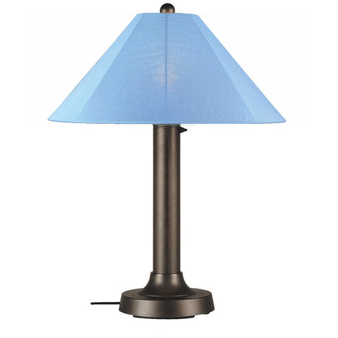 Catalina Outdoor Table Lamp with Bronze Body & Sky Blue Sunbrella Shade