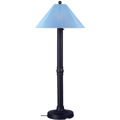 Catalina Outdoor Floor Lamp with Black Body & Sky Blue Sunbrella Shade