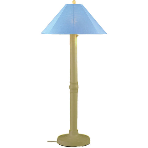 Catalina Outdoor Floor Lamp with Bisque Body & Sky Blue Sunbrella Shade