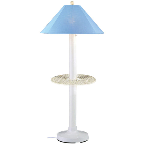Catalina Outdoor Table/Floor Lamp with White Body & Sky Blue Sunbrella Shade