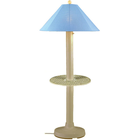 Catalina Outdoor Table/Floor Lamp with Bisque Body & Sky Blue Sunbrella Shade