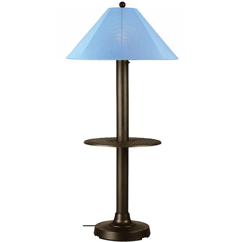 Catalina Outdoor Table/Floor Lamp with Bronze Body & Sky Blue Sunbrella Shade