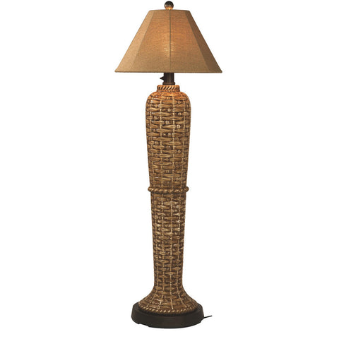 South Pacific Outdoor Floor Lamp with Sesame Sunbrella Shade