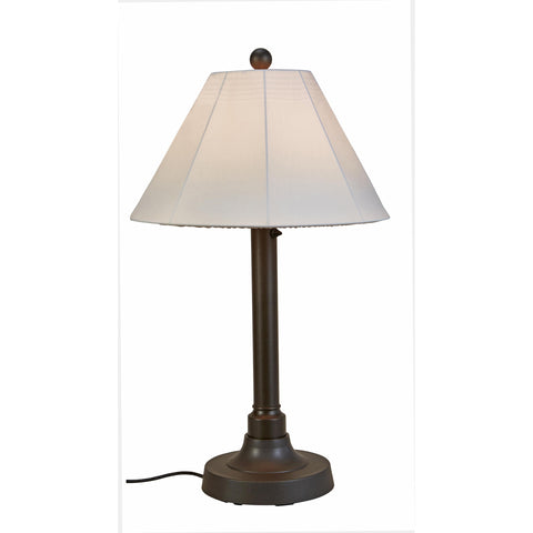 Versailles Outdoor Floor Lamp with Black Body & Walnut Wicker Shades