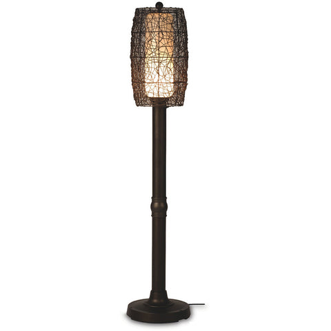 "Bristol 70"" Floor Lamp with Bronze Tube Body & Random Weave Walnut Wicker Barrel Shade"