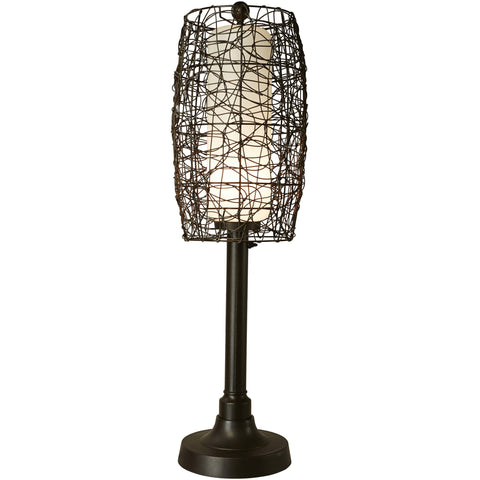 "Bristol 42"" Table Lamp with Bronze Tube Body & Random Weave Walnut Wicker Barrel Shade"