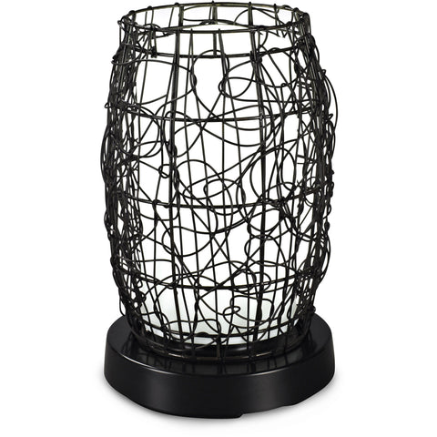 PatioGlo Bright White LED Outdoor Table Lamp with Walnut Random Weave Resin Wicker Cover
