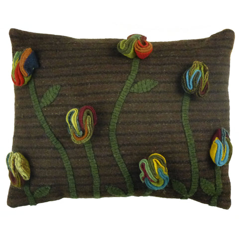 "Poppy 12""x16"" Hooked Wool Pillow"