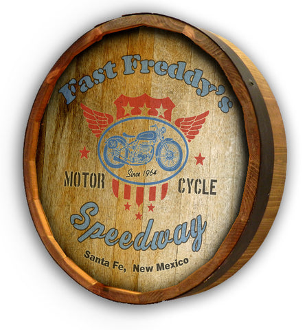 Personalized Speedway Quarter Barrel Sign