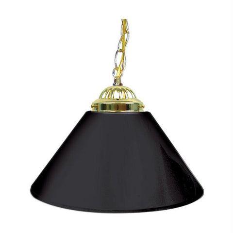 Plain Black 14 Inch Single Shade Bar Lamp - Brass hardware