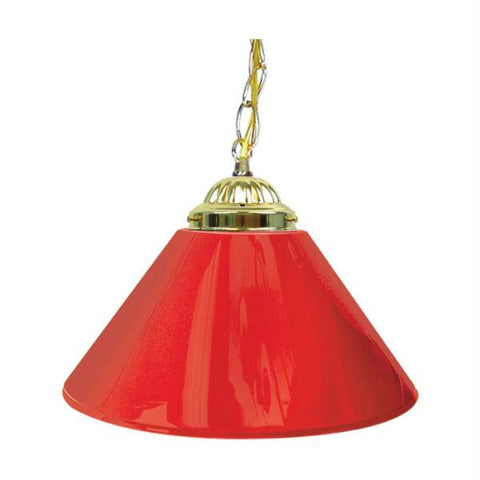 Plain Red 14 Inch Single Shade Bar Lamp - Brass hardware