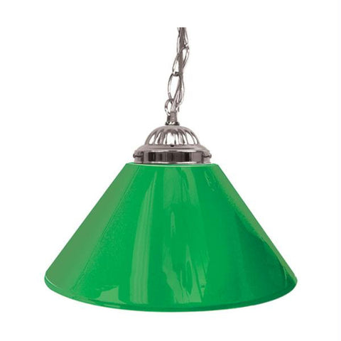 Plain Green 14 Inch Single Shade Bar Lamp - Silver hardware