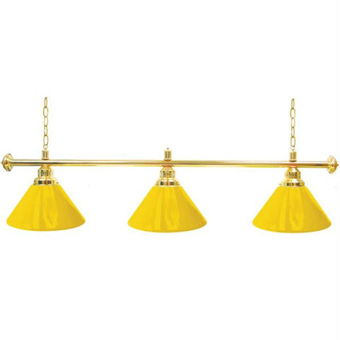 Premium 60 Inch 3 Shade Billiard Lamp Yellow and Gold