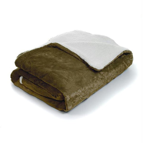 Lavish Home Fleece Sherpa Blanket Throw - Plaid