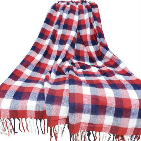 Lavish Home Cashmere-Like Blanket Throw - Red-Blue-White