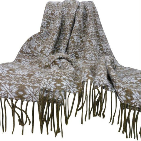 Lavish Home Jacquard Blanket Throw - Brown