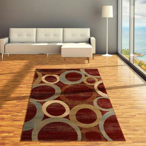 "Lavish Home Sphere Vision Area Rug - 60"" x 87"" - Red-Beige"