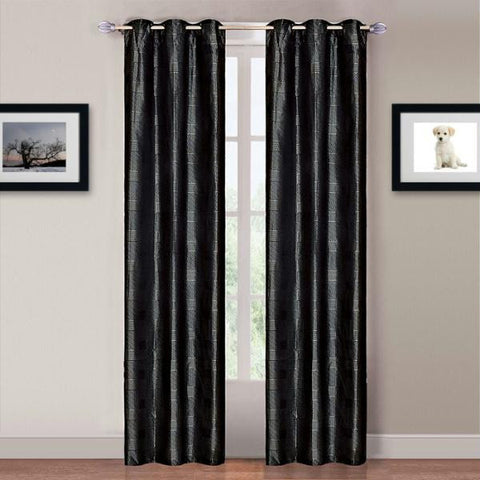 Lavish Home Katrina 2 Panel Grommet Curtains - Black