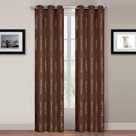 Lavish Home Katrina 2 Panel Grommet Curtains - Light Brown