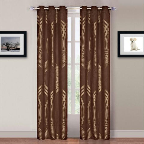Lavish Home Katrina 2 Panel Grommet Curtains - Gold-Brown