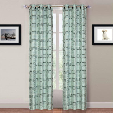 Lavish Home Katrina 2 Panel Grommet Curtains - Blue