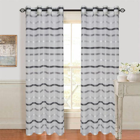 Set of 2 Lavish Home Arla Grommet Curtain Panel - Lite-Dark Grey