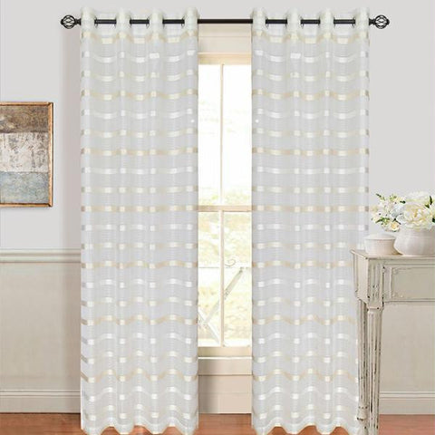 Set of 2 Lavish Home Arla Grommet Curtain Panel - White-Cream