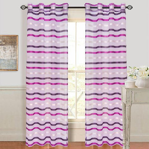 Lavish Home Sonya Grommet Curtain Panel- Violet