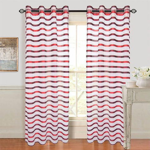 Set of 2 Lavish Home Sonya Grommet Curtain Panel - Wine-Red