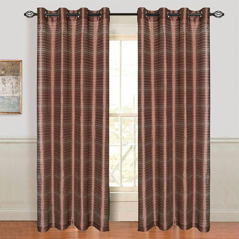 Set of 2 Lavish Home Maggie Grommet Curtain Panel-Chocolate