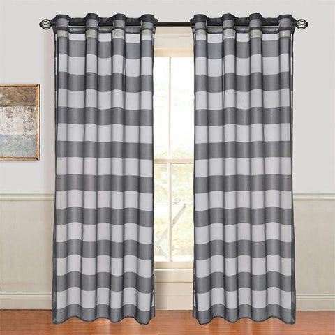 Lavish Home Sofia Grommet Curtain Panel - Black
